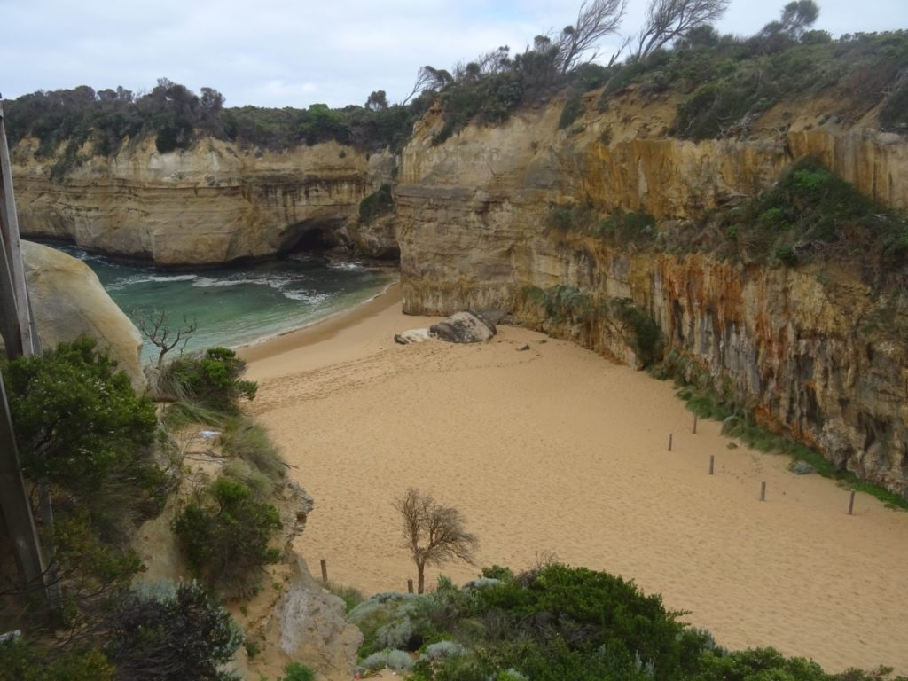 Looking out over the beach of Loch Ard Gorge