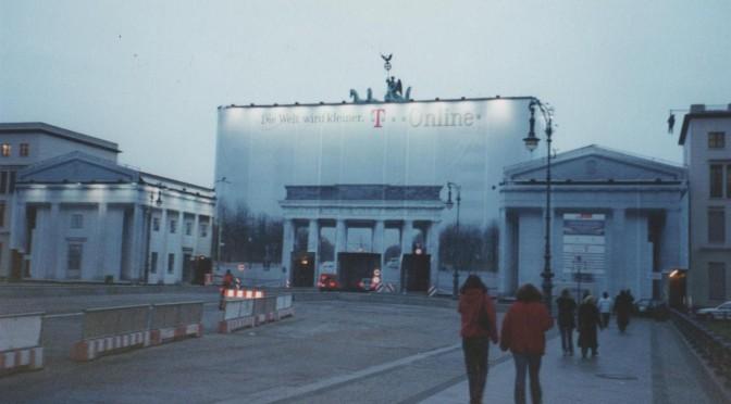 The Brandenburg Gate, undergoing restoration works in 2001.
