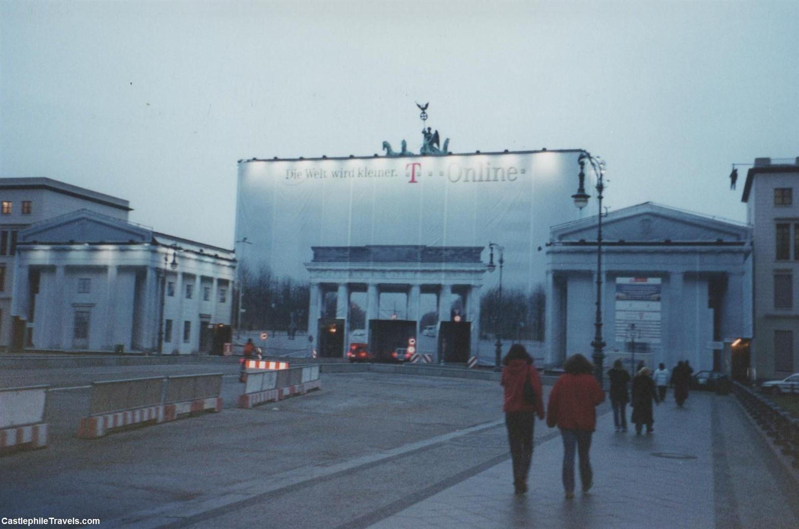 The Brandenburg Gate, undergoing restoration works in 2001.
