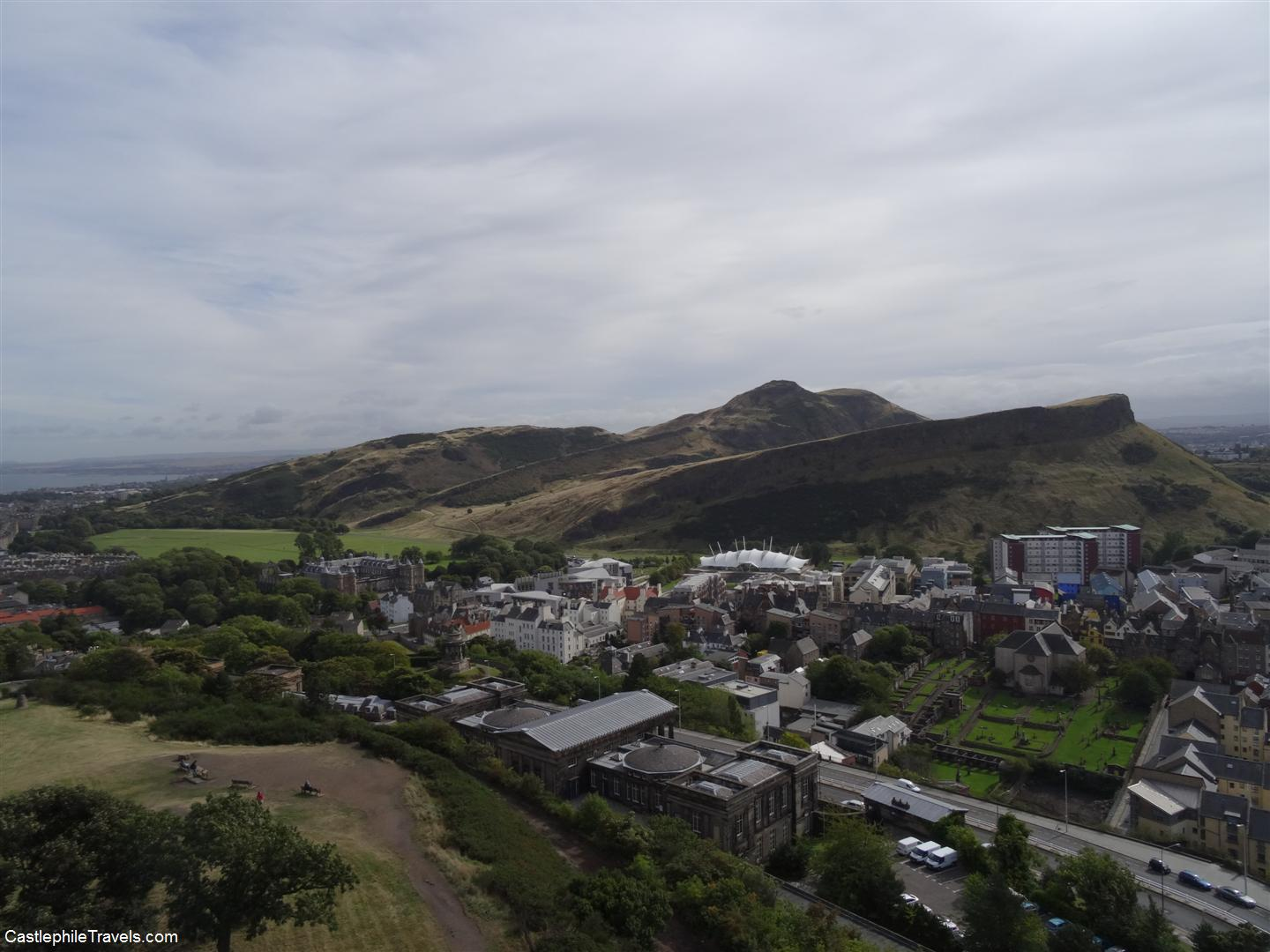 View from Nelson's Monument: Holyrood, Salisbury Crags and Arthur's Seat