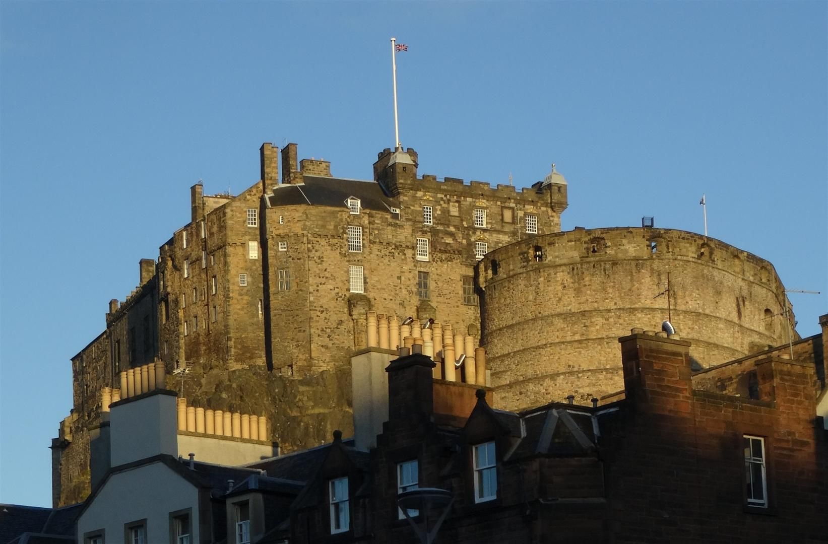 Edinburgh Castle in the early morning sunshine