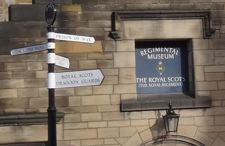 Military museum signpost at Edinburgh Castle