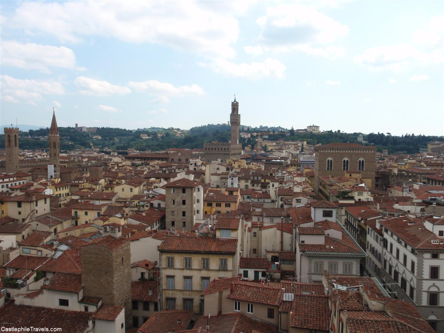 The tower of the Palazzo Vecchio pops up above the red rooves of Florence