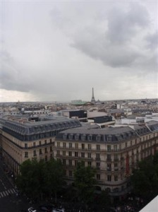 View of the Eiffel Tower from Galeries Lafayette