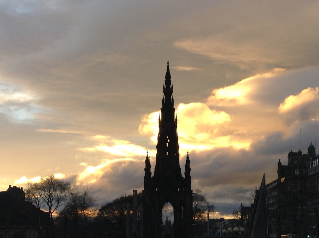 The Scott Monument as night falls