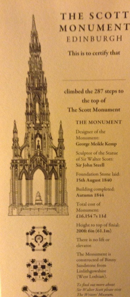 The certificate for climbing the Scott Monument