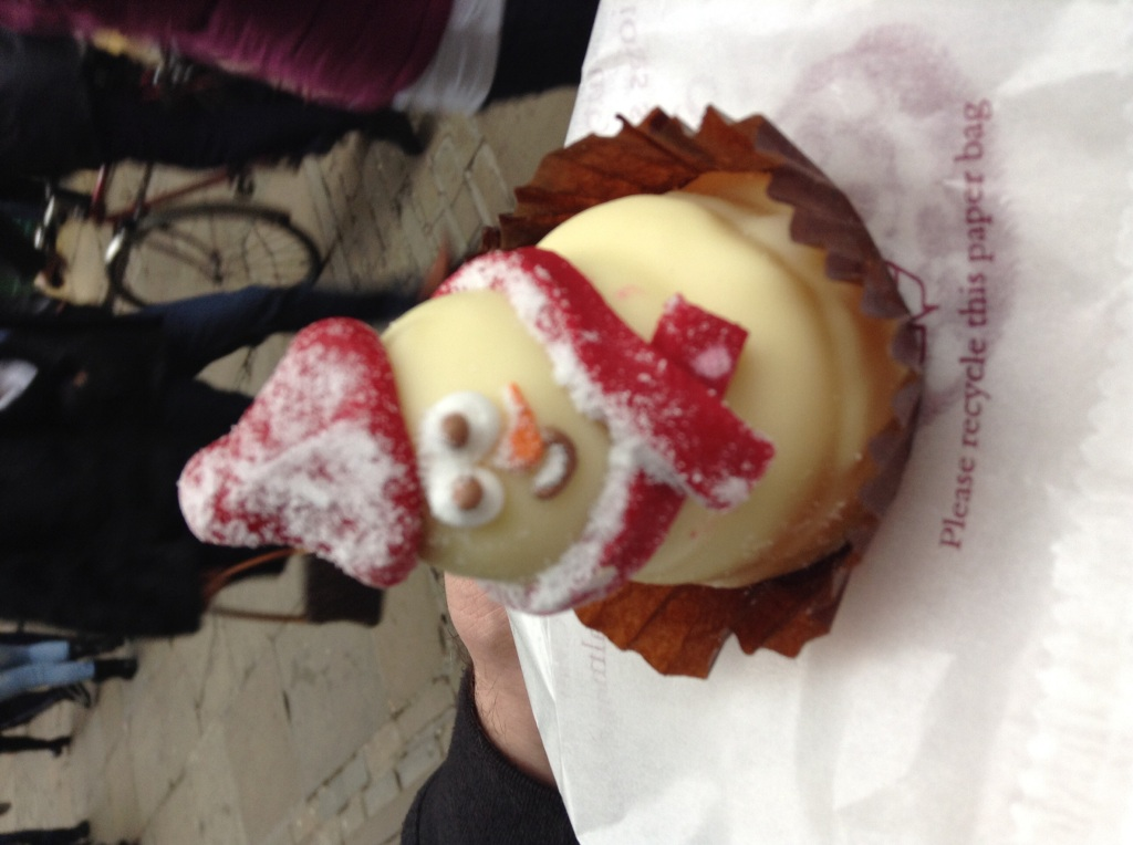 The very cute white chocolate ganache snowman from Bettys Tea Rooms on Stonegate