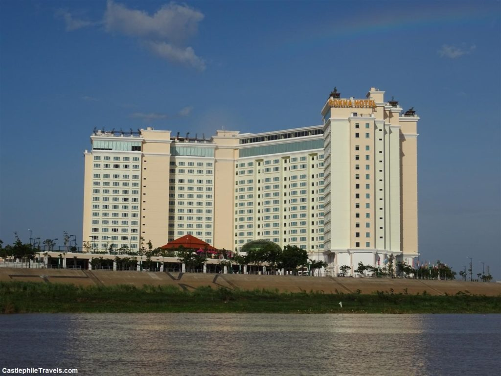 The grandness of the Sokha Hotel from the river