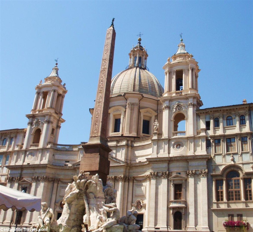 Bernini's Fountain of the Four Rivers in the middle of the Piazza Navona