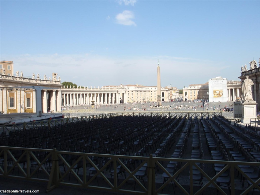 Chairs lined up in St Peter's Square