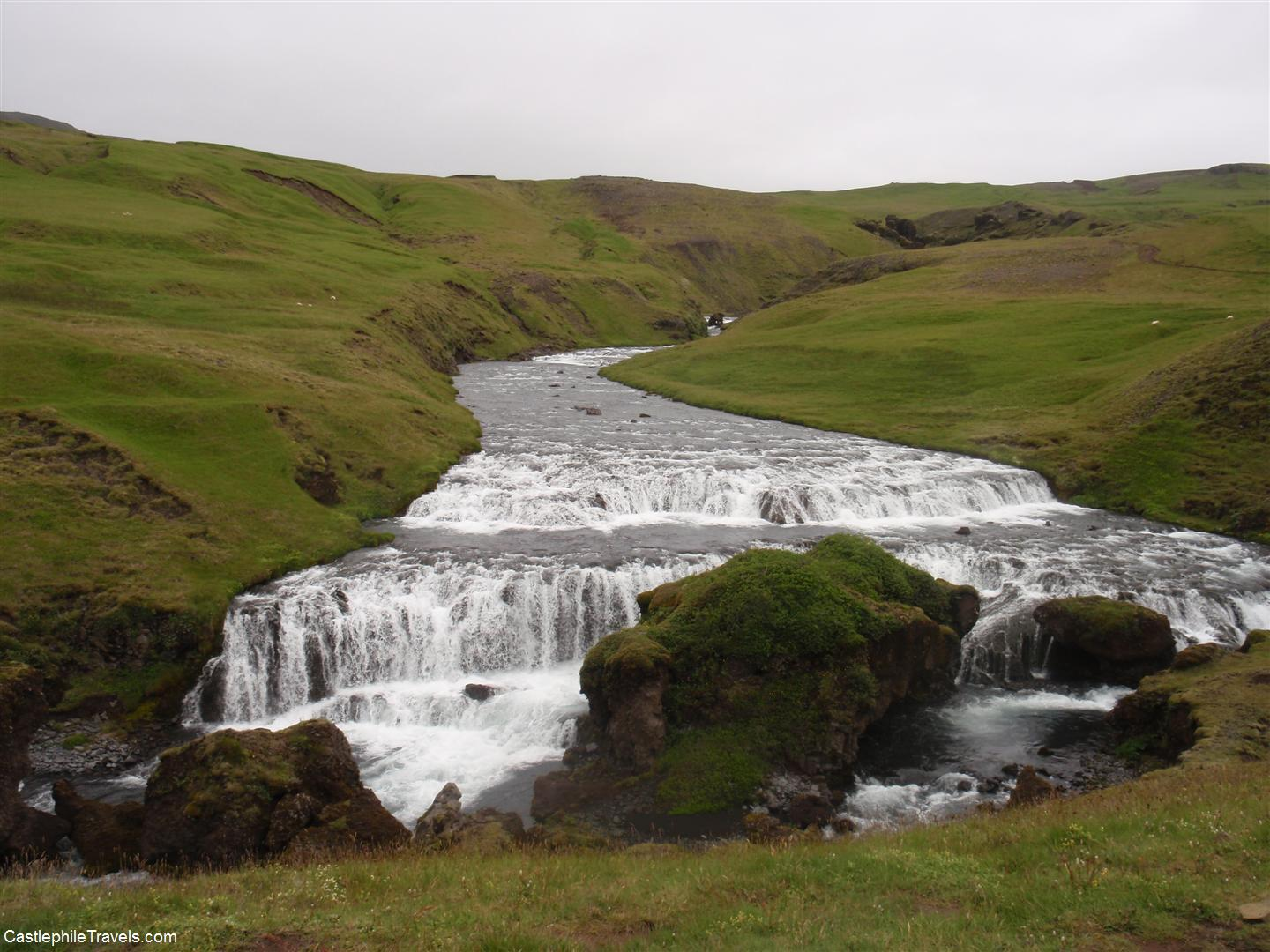 The waterfall just up the river from Skogafoss