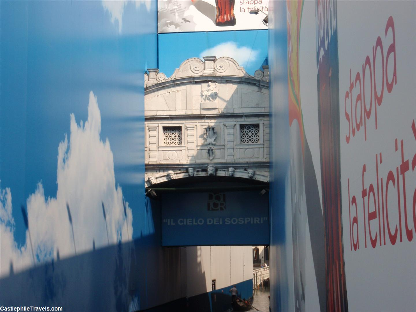 Advertising surrounding The Bridge of Sighs